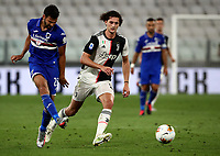 Calcio, Serie A: Juventus - Sampdoria, Turin, Allianz Stadium, July 26, 2020.<br /> Juventus'  Adrian Rabiot (r) in action with  Sampdoria Mehdi Leris (l) during the Italian Serie A football match between Juventus and - Sampdoria at the Allianz stadium in Turin, July 26, 2020.<br /> UPDATE IMAGES PRESS/Isabella Bonotto