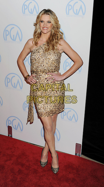 Missi Pyle.The 23rd Annual Producers Guild Awards at the Beverly Hilton Hotel in Beverly Hills, California, USA..January 21st, 2012.full length hands on hips dress one shoulder gold sequined sequins beige .CAP/ROT/TM.©Tony Michaels/Roth Stock/Capital Pictures