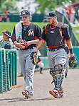 19 March 2015: Miami Marlins pitcher Tom Koehler (left) and catcher Jeff Mathis walk to the dugout prior to a Spring Training game against the Atlanta Braves at Champion Stadium in the ESPN Wide World of Sports Complex in Kissimmee, Florida. The Braves defeated the Marlins 6-3 in Grapefruit League play. Mandatory Credit: Ed Wolfstein Photo *** RAW (NEF) Image File Available ***
