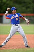 New York Mets third baseman Jhoan Urena (13) during a minor league spring training game against the St. Louis Cardinals on March 27, 2014 at the Port St. Lucie Training Complex in Port St. Lucie, Florida.  (Mike Janes/Four Seam Images)