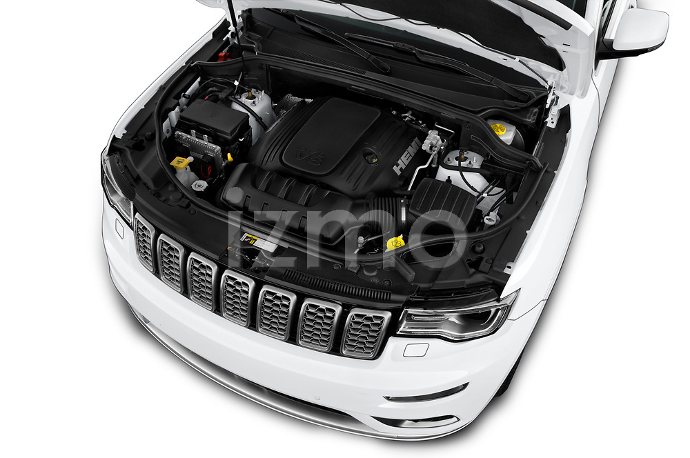 Car stock 2018 Jeep Grand-Cherokee Summit 5 Door SUV engine high angle detail view