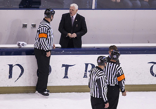 November 23, 2012:  Notre Dame head coach Jeff Jackson disagrees with no goal call during NCAA Hockey game action between the Notre Dame Fighting Irish and the North Dakota Fighting Sioux at Compton Family Ice Arena in South Bend, Indiana.  North Dakota defeated Notre Dame 2-1.
