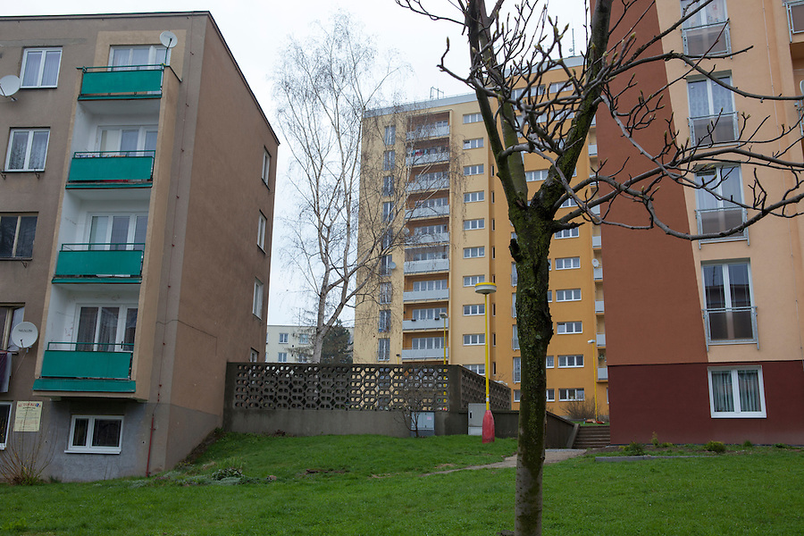 Multiple Czech apartment buildings (panalaky) in southern Bohemia, Czech Republic, Europe