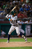 Vermont Lake Monsters shortstop Jesus Lage (2) at bat during a game against the Tri-City ValleyCats on June 16, 2018 at Joseph L. Bruno Stadium in Troy, New York.  Vermont defeated Tri-City 6-2.  (Mike Janes/Four Seam Images)