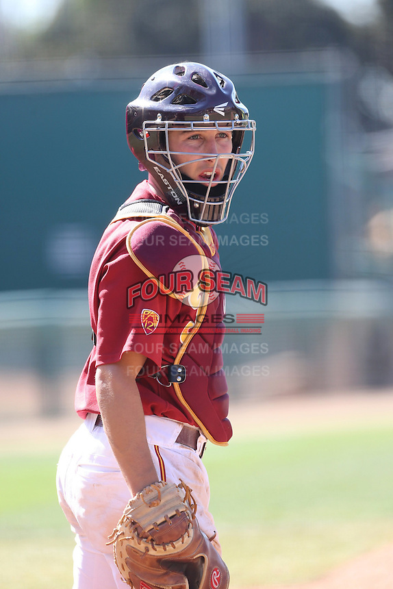 Garrett Stubbs (51) of the Southern California Trojans in the field during a game against the Oregon Ducks at Dedeaux Field on April 18, 2015 in Los Angeles, California. Oregon defeated Southern California, 15-4. (Larry Goren/Four Seam Images)