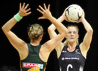 26.07.2015 Silver Ferns Shannon Francois in action during the Silver Fern v South Africa netball test match played at Claudelands Arena in Hamilton. Mandatory Photo Credit ©Michael Bradley.