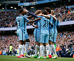 David Silva of Manchester City celebrates scoring during the English Premier League match at the Etihad Stadium, Manchester. Picture date: May 13th 2017. Pic credit should read: Simon Bellis/Sportimage