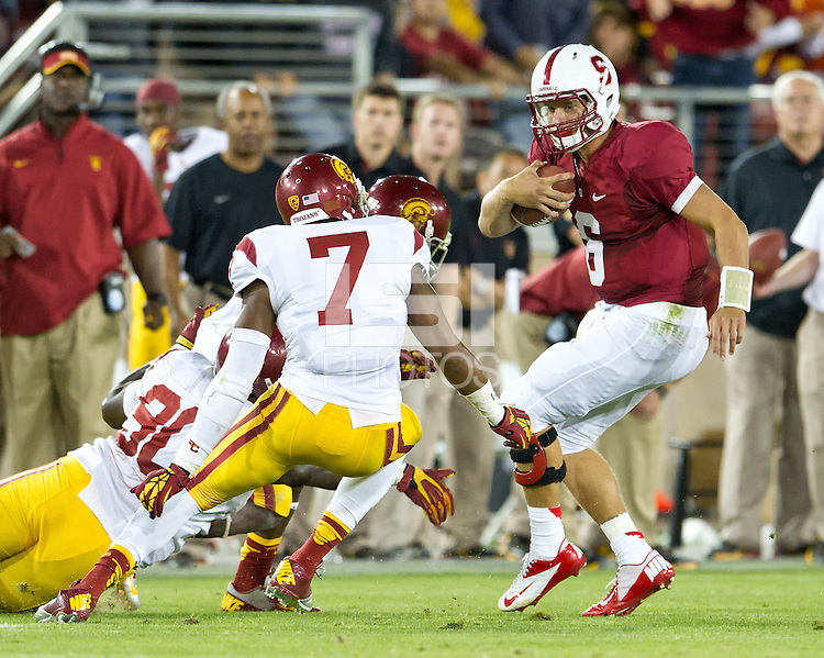 STANFORD, CA - September 15, 2012: Stanford Cardinal vs the USC Trojans at Stanford Stadium in Sanford, CA. Final score Stanford 21, USC 14.