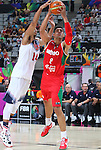 06.09.2014. Barcelona, Spain. 2014 FIBA Basketball World Cup, round of 16. Picture show G. Ayon and A. Davis  in action during game between  Mexico v Usa  at Palau St. Jordi