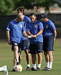 12 March 2008: United States Men's National Team head coach Bob Bradley (leftt), with assistant coach and head coach of the U-23 National Team Peter Nowak (POL) (center), and assistant coach John Hackworth (right). The United States U-23 Men's National Team practiced at the Tampa Bay Buccaneers training facility in Tampa, FL on an off day in the 2008 CONCACAF Men's Olympic Qualifying Tournament.