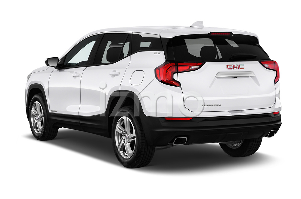 Car pictures of rear three quarter view of a 2018 GMC Terrain SLE FWD 5 Door SUV angular rear