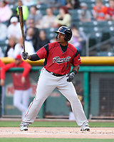 Carlos Moncrief (9) of the Sacramento River Cats at bat against the Salt Lake Bees in Pacific Coast League action at Smith's Ballpark on April 13, 2017 in Salt Lake City, Utah.  Salt Lake defeated Sacramento 4-3. (Stephen Smith/Four Seam Images)