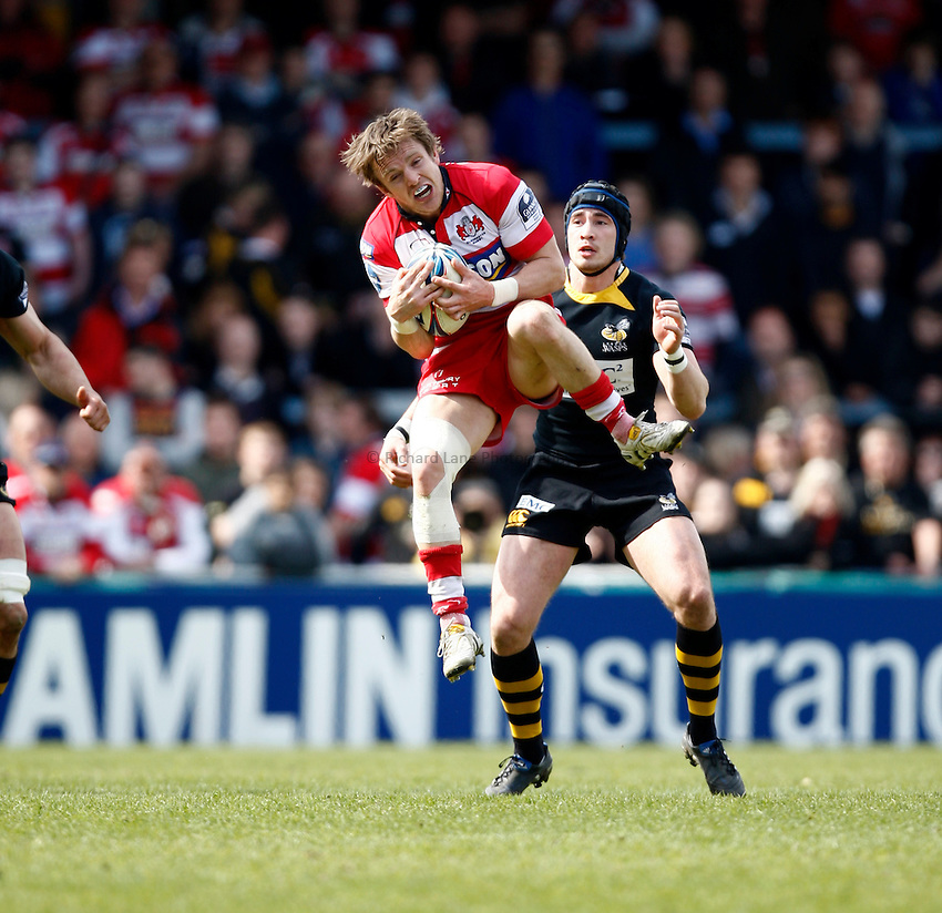 Photo: Richard Lane/Richard Lane Photography. London Wasps v Gloucester Rugby. Amlin Challenge Cup Quarter Final. 11/04/2010. Gloucester's Rory Lawson catches a high ball.