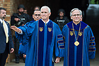 ]May 21, 2017; Commencement speaker Vice President Mike Pence and University of Notre Dame president Rev. John I. Jenkins, C.S.C., pause before entering Notre Dame Stadium for the 2017 Commencement ceremony.  (Photo by Barbara Johnston/University of Notre Dame)