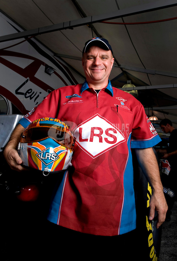 Oct. 31, 2008; Las Vegas, NV, USA: NHRA funny car driver Tim Wilkerson poses for a portrait prior to qualifying for the Las Vegas Nationals at The Strip in Las Vegas. Mandatory Credit: Mark J. Rebilas-