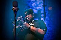 Rashawn Ross (Trumpet) of The Dave Matthews Band Live in ROME at the Palalottomatica Arena, ROME, Italy on 20 October 2015. Photo by Valeria  Magri.