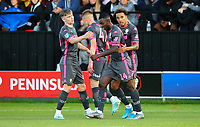 Leeds United's Eddie Nketiah celebrates scoring the opening goal with teammates<br /> <br /> Photographer Alex Dodd/CameraSport<br /> <br /> The Carabao Cup First Round - Salford City v Leeds United - Tuesday 13th August 2019 - Moor Lane - Salford<br />  <br /> World Copyright © 2019 CameraSport. All rights reserved. 43 Linden Ave. Countesthorpe. Leicester. England. LE8 5PG - Tel: +44 (0) 116 277 4147 - admin@camerasport.com - www.camerasport.com