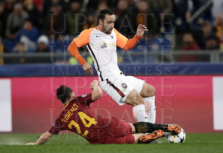 Football Soccer: UEFA Champions League  Round of 16 Second Leg, AS Roma vs FC Shakhtar Donetsk, Stadio Olimpico Rome, Italy, March 13, 2018. <br /> Roma's Alessandro Florenzi (l) in action with  Shakhtar Donetsk's Ismaily (r) during the Uefa Champions League football soccer match between AS Roma and FC Shakhtar Donetsk at Rome's Olympic stadium, March 13, 2018.<br /> UPDATE IMAGES PRESS/Isabella Bonotto
