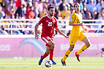 Nathmi Albadawi of Palestine (L) in action during the AFC Asian Cup UAE 2019 Group B match between Palestine (PLE) and Australia (AUS) at Rashid Stadium on 11 January 2019 in Dubai, United Arab Emirates. Photo by Marcio Rodrigo Machado / Power Sport Images