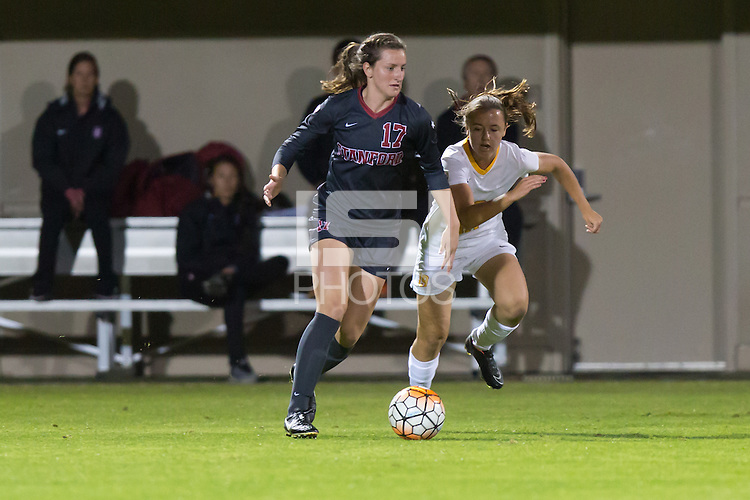 Stanford, CA - October 29, 2015: Andi Sullivan during Stanford women\'s soccer against USC at Maloney Field. Stanford defeated USC 1-0.