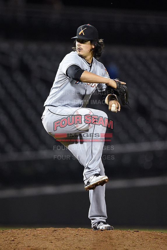 Salt River Rafters pitcher Edgar Olmos (67) during an Arizona Fall League game against the Mesa Solar Sox on October 18, 2014 at Cubs Park in Mesa, Arizona.  Mesa defeated Salt River 8-4.  (Mike Janes/Four Seam Images)