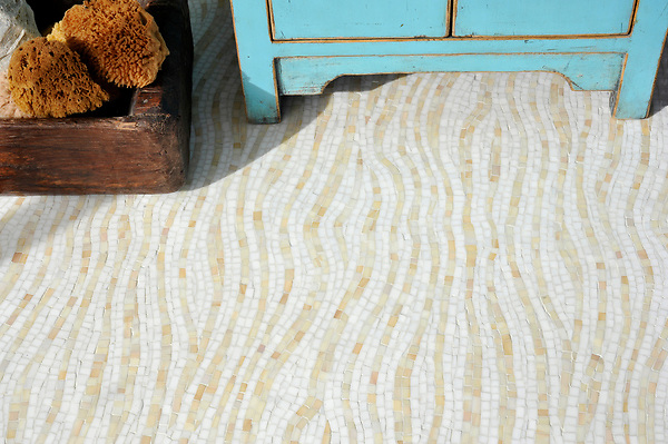 Dune, a handmade mosaic shown in Absolute White and Agate Sea Glass™ is part of the Sea Glass™ collection by Sara Baldwin for New Ravenna.