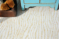 Dune, a handmade mosaic shown in Absolute White and Agate Sea Glass&trade; is part of the Sea Glass&trade; Collection by Sara Baldwin for New Ravenna. <br />