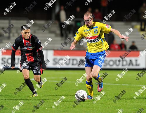 2012-10-13 / Voetbal / seizoen 2012-2013 / KVC Westerlo - FC Brussels / Kevin Geudens (r. westerlo) met Aalhoul..Foto: Mpics.be