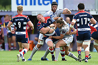 Ross McMillan of Bristol Rugby is tackled. Pre-season friendly match, between Bristol Rugby and Bath Rugby on August 12, 2017 at the Cribbs Causeway Ground in Bristol, England. Photo by: Patrick Khachfe / Onside Images