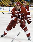 Peter Starrett (Harvard - 14) - The Harvard University Crimson defeated the Boston University Terriers 5-4 in the 2011 Beanpot consolation game on Monday, February 14, 2011, at TD Garden in Boston, Massachusetts.