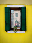 Window selfie, the colorful village of Burano, Italy.