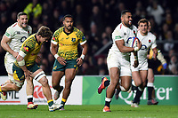 Joe Cokanasiga of England goes on the attack. Quilter International match between England and Australia on November 24, 2018 at Twickenham Stadium in London, England. Photo by: Patrick Khachfe / Onside Images