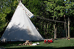 A Native American Indian tipi campsite