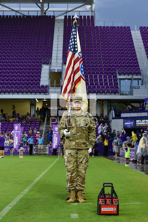 Orlando, FL - Saturday July 07, 2018: US Army during the second half of a regular season National Women's Soccer League (NWSL) match between the Orlando Pride and the Washington Spirit at Orlando City Stadium. Orlando defeated Washington 2-1.