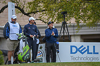 Francesco Molinari (ITA) and Kevin Kisner (USA) attempt to stay warm on the tee on 1 before day 5 of the WGC Dell Match Play, at the Austin Country Club, Austin, Texas, USA. 3/31/2019.<br /> Picture: Golffile | Ken Murray<br /> <br /> <br /> All photo usage must carry mandatory copyright credit (&copy; Golffile | Ken Murray)