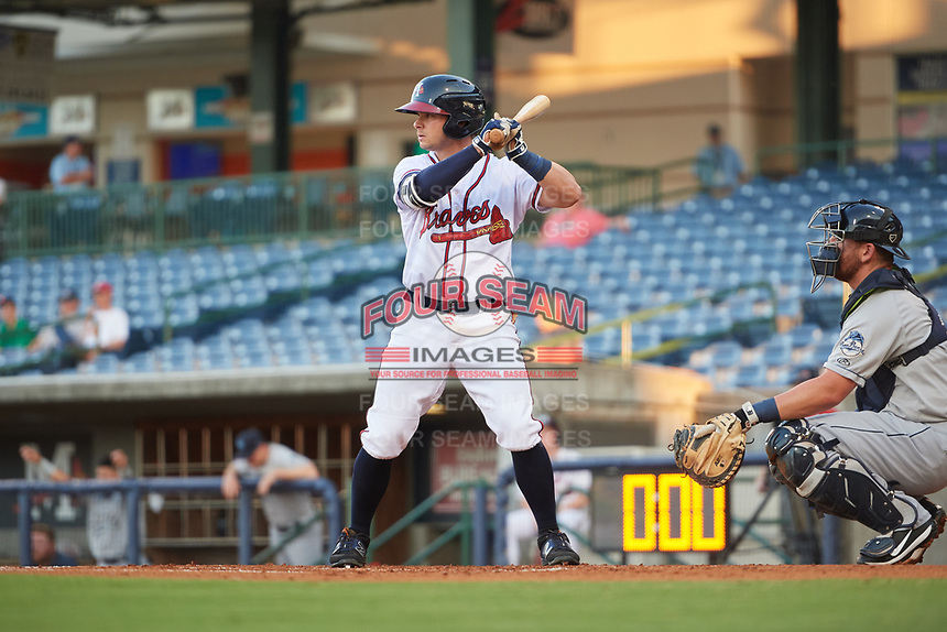 Mississippi Braves right fielder Tyler Neslony (2) at bat in front of catcher Michael Barash (16) during a game against the Mobile BayBears on May 7, 2018 at Trustmark park in Pearl, Mississippi.  Mobile defeated Mississippi 5-0.  (Mike Janes/Four Seam Images)