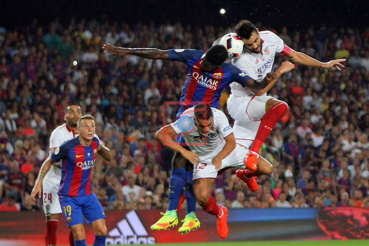 League Santander 2016/2017.<br /> Supercopa de Espa&ntilde;a - Vuelta.<br /> FC Barcelona vs Sevilla FC: 3-0.<br /> Ben Yedder, Umtiti &amp; Iborra.