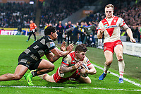 Picture by Alex Whitehead/SWpix.com - 10/03/2017 - Rugby League - Betfred Super League - Hull FC v St Helens - KCOM Stadium, Hull, England - St Helens' Mark Percival scores a try.