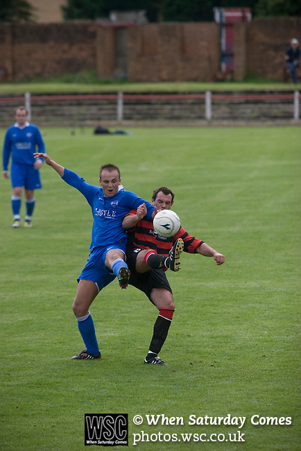 Kirkintilloch Rob Roy 1 Kilsyth Rangers 1, 16/08/2008. Adamslie Park, Sectional League Cup. A Kilsyth Rangers player (blue) competes for a loose ball against local rivals Kirkintilloch Rob Roy in a Sectional League Cup (Central) Section 8 tie at soon-to-be demolished Adamslie Park, Kirkintilloch. The game ended in a 1-1 draw allowing Kilsyth to progress to the quarter-finals. Junior football was divided into East, West and North sections and played throughout Scotland. It had its own governing body, the SJFA and regional pyramid structure and national cup competition. Photo by Colin McPherson.