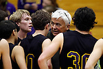 LEAD, SD - FEBRUARY 21, 2014:  Custer High School Boys basketball coach Larry Luitjens talks to his players during a timeout against Lead-Deadwood Friday February 21, 2014 in Lead, S.D.  Luitjens is retiring after more than 40 years coaching.  (Photo by Dick Carlson/Inertia)