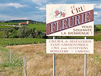 France, FRA, Département Rhone, Beaujolais, Fleurie, 2009Jul23: A signboard at the roadside advertises the renowned Beaujolais wine of Fleurie.