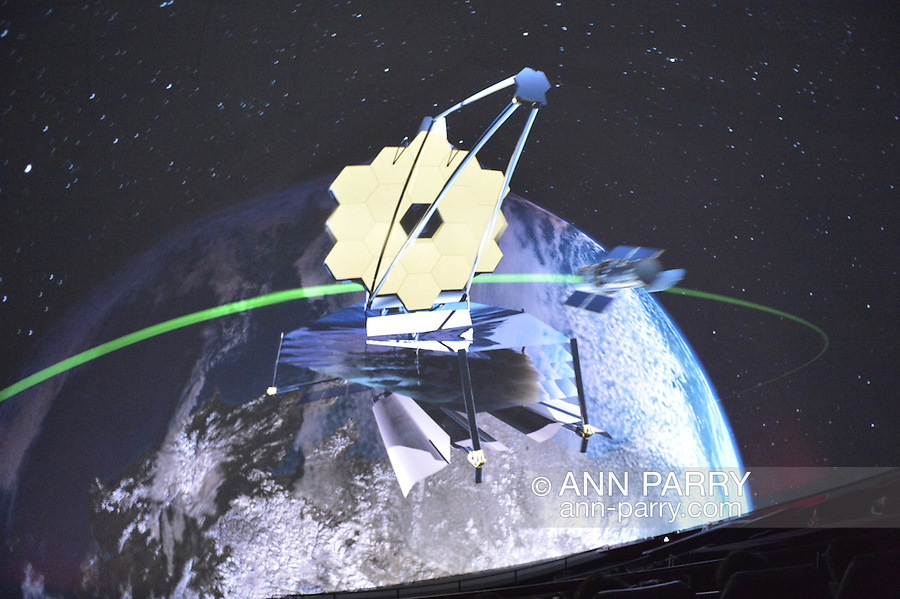 """Oct 4, 2012 - GARDEN CITY, NEW YORK U.S. - At the new JetBlue Sky Theater Planetarium at Cradle of Aviation Museum, Nassau County students watched """"We Are Astronomers"""" a digital planetarium show, which included a space telescope. The planetarium, a state-of-the-art digital projection system, officially opens this weekend."""