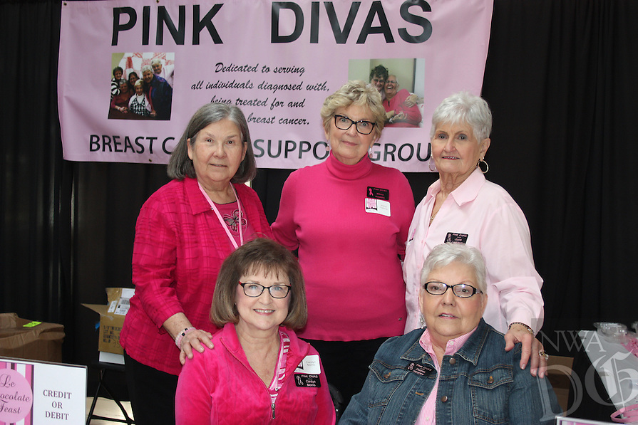 NWA Democrat-Gazette/CARIN SCHOPPMEYER Pink Divas Carolyn Morris (seated, from left), Delores Hanshew, Wilma Hawkins (standing, from left), Sharon Rogers and Joyce Lundstrom welcome guests to Le Chocolate Feast on Jan. 30 at the Northwest Arkansas Mall in Fayetteville.