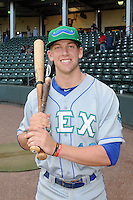 Third baseman Hunter Dozier (13) of the Lexington Legends poses for a photo before a game against the Greenville Drive on Friday, August, 16, 2013, at Fluor Field at the West End in Greenville, South Carolina. Dozier was the No. 1 pick (eighth overall) by the Kansas City Royals in the first round of the 2013 First-Year Player Draft. He played collegiate ball for Stephen F. Austin University. Greenville won, 2-1. (Tom Priddy/Four Seam Images)
