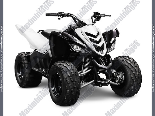 2012 Yamaha Raptor 90 ATV isolated on white background with clipping path