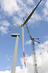 GERMANY Schleswig-Holstein Nortorf, construction of wind turbine SENVION 3.2M114, performance 3,2 Megawatt, Senvion (formerly REpower AG)  / DEUTSCHLAND Schleswig Holstein Nortorf, Aufbau einer Windkraftanlage Senvion 3.2M 114
