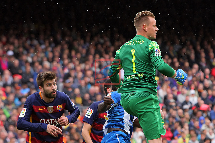 League BBVA 2015/2016 - Game: 37.<br /> FC Barcelona vs RCD Espanyol: 5-0.<br /> Gerard Pique &amp; Marc-Andre Ter Stegen.
