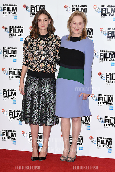 Actresses Carey Mulligan &amp; Meryl Streep at the photocall for their movie &quot;Suffragette&quot; at the Lanesborough Hotel, Knightsbridge, London.<br /> October 7, 2015  London, UK<br /> Picture: Steve Vas / Featureflash