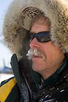 Closeup portrait of Jeff King just after arriving @ Cripple Chkpt 1/2way point 2006 Iditarod Alaska Winter