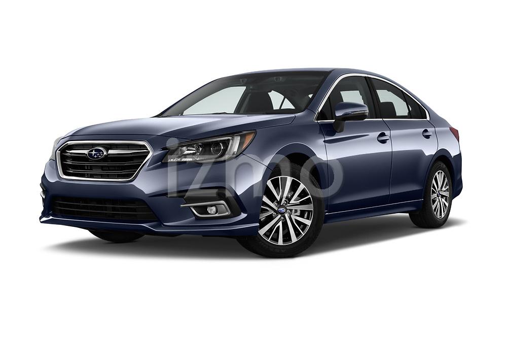 Stock pictures of low aggressive front three quarter view of a 2018 Subaru Legacy Premium 4 Door Sedan